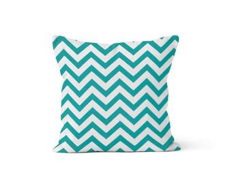 Turquoise Chevron Pillow Cover - Zig Zag True Turquoise - Many Sizes Lumbar, 12, 14, 16 - Zipper Closure - sc246l