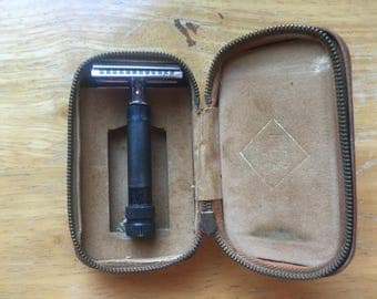 1960s Hoffritz Germany Double Edged Straight Safety Razor with Brown Leather Travel Case