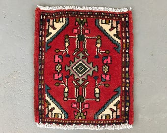 "SHIPS FREE! Small Vintage Persian Area Rug - 21"" x 17"""