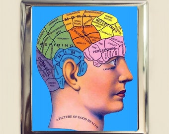 Phrenology Cigarette Case Business Card ID Holder Wallet Victorian Medical Quackery Psychology
