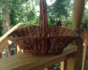 Woven Reed Gathering Basket | Hippie Boho Decor | Handmade Basket | Oak Bottom | Bent Wood Handle | Vintage Flower Basket