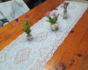 Shabby Chic blue Lace Runner,vintage very long lace french blue country french table runner, shabby chic blue wedding table linen