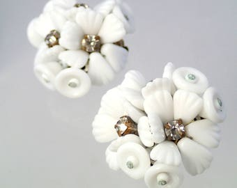 FREE Shipping Vintage Porcelain Rhinestone Rose Earrings White Clip On Bouquet Bridal Brides Wedding german germany japan