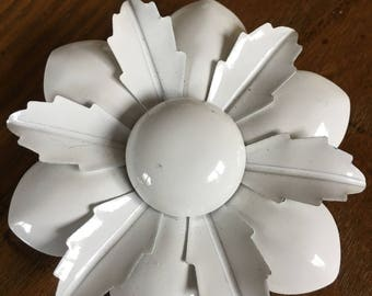 Pure White Enamel Metal Flower Brooch