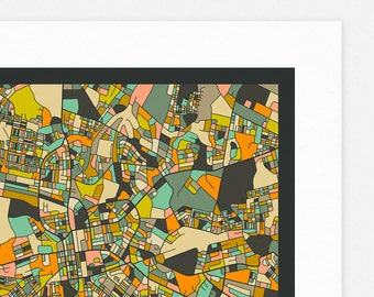 LUSAKA MAP (Giclée Fine Art Print, Photographic Print or Poster Print) dark version
