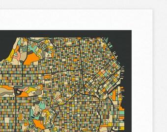 SAN FRANCISCO MAP (Giclée Fine Art Print/Photographic Print/Poster Print) dark version