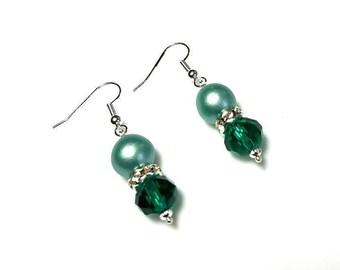 satin green Czech glass druk bead dark green Swarovski crystal earrings hypoallergenic earrings nickel free earrings dangle beaded jewelry