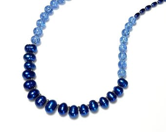 ombre blue freshwater pearl necklace crackled glass jewelry unique cobalt beaded handmade necklace gift for her necklace for women