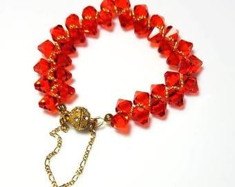 Red Swarovski Crystal Gold Bracelet Rhinestone Magnetic Clasp Wedding Bridesmaids Bracelet Sparkling Crystal Jewelry