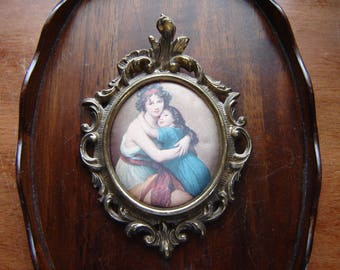 Charmant Vintage Antique Wall Decor Gilded Metal Ornate Frame Wall Hanging Patina  Woman And Child Italian Style