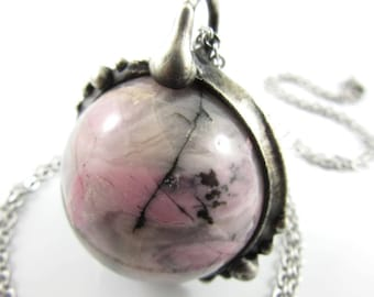 pink venus - rhodonite crystal ball necklace