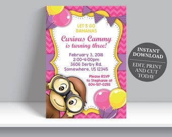 INSTANT DOWNLOAD - Curious George Girl Birthday Invitation, Monkey Birthday Invite, Girl Curious George Birthday Party Invite,