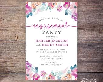 Engagement Party Invitation, Watercolor Flowers, Floral, DIY, Customized Printable Digital File- Harper