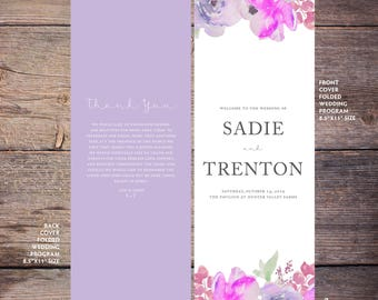 Floral Wedding Program, Printable, Flowers Wedding Program, Print at Home, Digital Files - Sadie