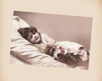 Girl With A Doll And A Teddy Bear New 4x6 Vintage Image Photo Print GD46