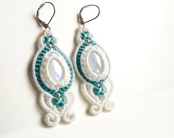 Moonstone Macrame Earrings - White and Aqua Thread