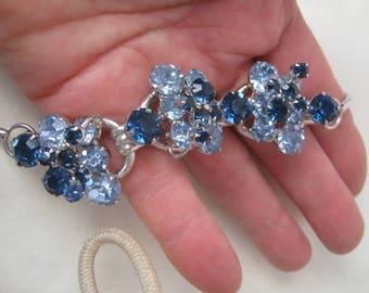 Cobalt Blue Rhinestone Choker Necklace Vintage, Juliana by DeLizza & Elster, 3 links, 1960's, Wedding, Women's Jewelry, rosesandbutterflies
