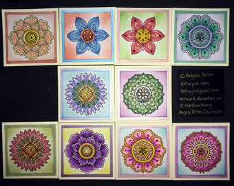 Boxed set of handmade art greetings cards -  Set A