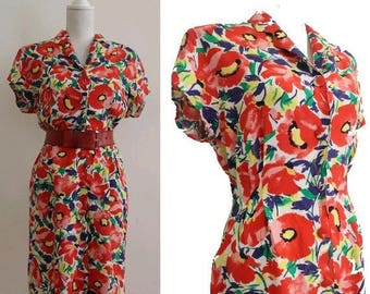 Less 25% 80s french floral DRESS small  poppies