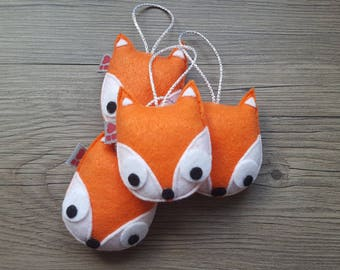 Orange Fox Ornament, Gifts for Friends, 4 Cute Foxes, Decorative Hanging, Baby Decoration, Wild Animals, Themed Party Ideas, Forest Creature
