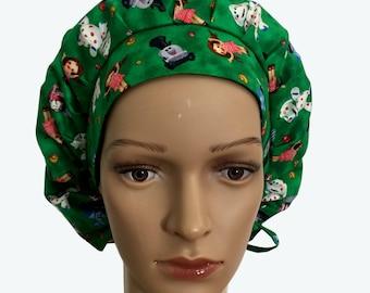 Bouffant Surgical Scrub Hat - Kids Toys on Green Bouffant Scrub Hat - Fun Ponytail Scrub hat - Custom Scrub Hat - Personalized Scrub hat