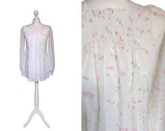 1960's Babydoll Dress | 60's Mini Dress | White Floral Vintage Dress | Pink Roses Smock Top