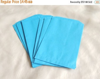 On Sale 50 5x7 inch Blue Paper Bags, Sky Blue Paper Party Bags, Colored Paper Merchandise Bags, Gift Bags, Wedding Bags, Bridal Bags, Craft