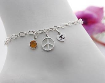 Sterling silver Peace sign  Bracelet. Personalized Bracelet, Initial Bracelet, Birthstone Bracelet, Peace symbol jewelry. Hippie bracelet