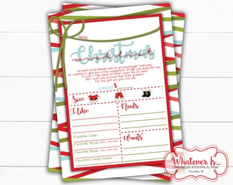 Christmas Wish List | Kids Christmas Wish List | Printable Wish List | Christmas Printable | Child's Christmas Wish List | Gift Wish List