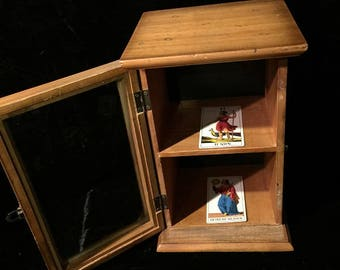 Small Vintage Display Case Cabinet Pre-owned Apt Size  with 2 old Tarot Cards inside
