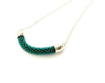 SNAKE bead crochet necklace, emerald green long necklace