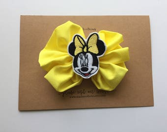 Mouse clip wrapped in ribbon MINNIE Inspired mouse with yellow bow