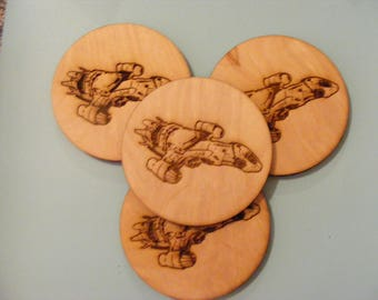 Laser engraved Firefly/Serenity Round Coasters 10cm set of 4