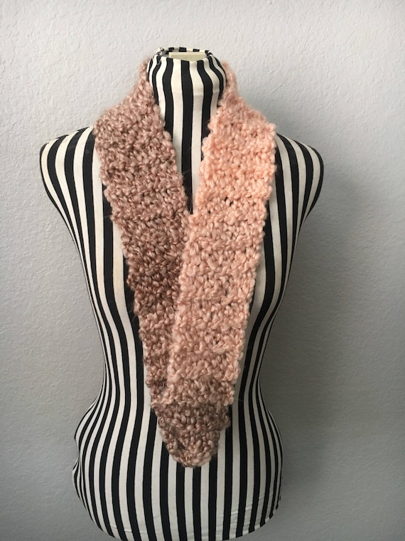 Thin Pink & Brown Ombre | Soft | Knitted Infinity Scarf — Ready To Ship