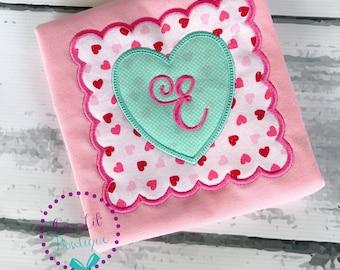 Valentine Shirt - Monogrammed Valentine Shirt - Hearts - Valentine Outfit- Monogrammed Hearts - Personalized - Valentine Monogram - Initial