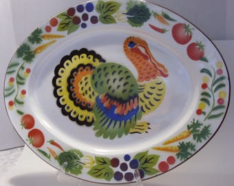 Large Colorful Turkey Platter is Enamel on Metal and Made in Hong Kong