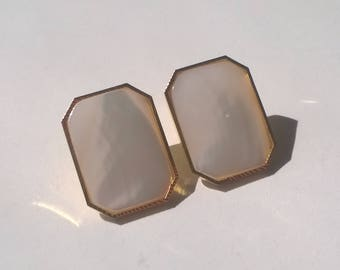 Vintage White Earrings - Pierced Square Shell Gold Fashion Jewelry - Retro 1970s