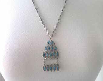 Vintage Tassel Silver Necklace  - Blue Beaded Pendant Retro Jewelry 1980s