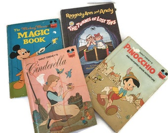 Vintage Walt Disney and Weekly Reader Collection of 4 Books Library Boys and Girls Childrens Books