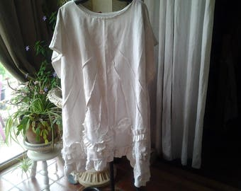 white linen layering tunic dress