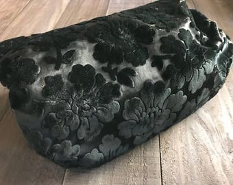 Antique Black Silk Velvet Muff, Damask, Brocade, Victorian Era