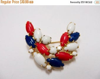 ON SALE Vintage Prong Set Red, White and Blue Glass Stone Pin Item K # 1229