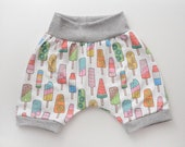 Popsicle Harem or Mini Shorts ORGANIC Cotton Infant/Toddler with Waistband and Leg Cuffs in black or gray