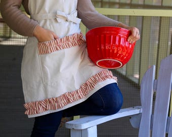Red Ticking Artist Apron