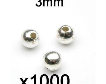 1000 beads 3mm silver balls