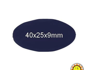 x 1 silicone Pearl oval stone 40mm Navy Blue standards food teething
