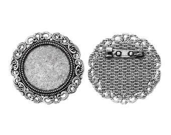 1 support brooch silver fancy ring 25mm