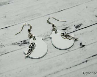 Bird earrings,earrings,bird white,angel wing,unique jewelry,cute,tiny bird,nature,gift