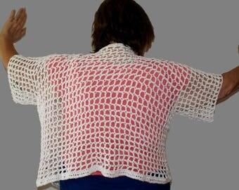 Cotton Cardigan, White Sweater, Plus Size Sweater, Oversized Top, Crochet Top, Mesh Sweater, Mesh Jumper, Summer Cardigan, Button Cardigan