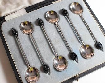 Coffee Bean Art Deco Set of 6 Boxed Sterling Silver Hallmarked Tea Spoons Teaspoons James Deakin & Sons  1921